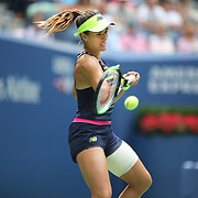 2017 U.S. Open Tennis Tournament - DAY FOUR. Nicole Gibbs of the United States in action against Karolina Pliskova of the Czech Republic during the Women's Singles round two match at the US Open Tennis Tournament at the USTA Billie Jean King National Tennis Center on August 31, 2017 in Flushing, Queens, New York City.  (Photo by Tim Clayton/Corbis via Getty Images)