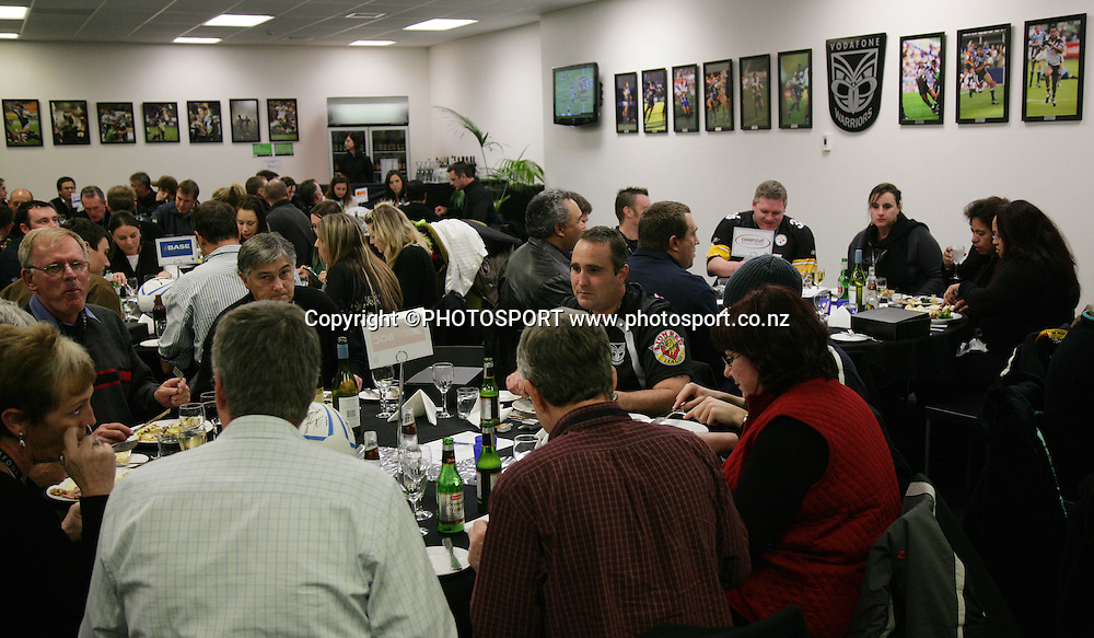 Warriors club fans enjoy a dinner function prior to the start of the match between the Vodafone Warriors and the Penrith Panthers at Mt Smart Stadium, Auckland on Friday 22 June 2007. Photo: Andrew Cornaga/PHOTOSPORT<br />
