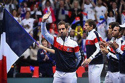 Richard Gasquet (FRA) before double at the Davis Cup first round tie against Netherlands, in Albertville, halle Olympique, France on february, 3, 2018. Photo by Corinne Dubreuil/ABACAPRESS.COM
