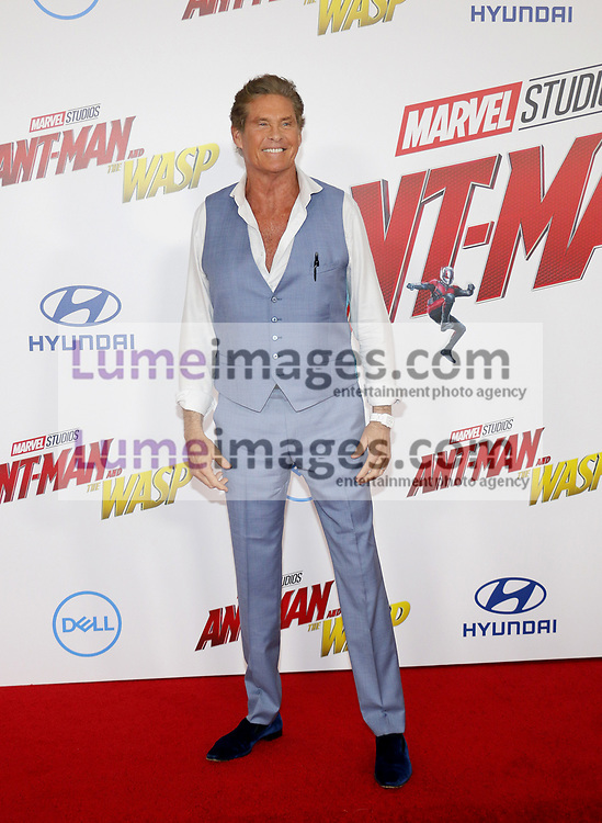 David Hasselhoff at the Los Angeles premiere of 'Ant-Man And The Wasp' held at the El Capitan Theatre in Hollywood, USA on June 25, 2018.