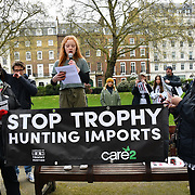 Bella Lack is a Born Free Foundation ambassador addresses the crowds at the 5th Global March for Elephants and Rhinos march against extinction and trophy hunting murdering and killing animals for blood spots and ivory trade on 13 April 2019, London, UK.