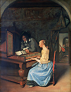A Young Woman playing a Harpsichord', c1659. Dutch interior with girl at keyboard sight-reading from an open music book.  Jan Steen (1626-1679) Dutch painter.