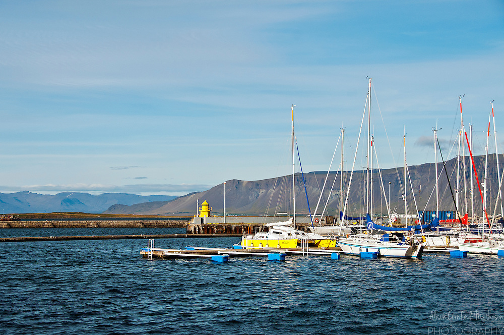 Sail-boats are moored at Reykjavik's marina in Iceland.
