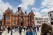 Black lives matter sign during the Black Lives Matter Protest in Merthyr Tydfil, Wales on 7 June 2020.