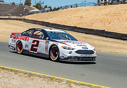 June 22, 2018 - Sonoma, CA, U.S. - SONOMA, CA - JUNE 22:  Brad Keselowski, driving the #(2) Ford for Team Penske heads down to turn 9 on Friday, June 22, 2018 at the Toyota/Save Mart 350 Practice day at Sonoma Raceway, Sonoma, CA (Photo by Douglas Stringer/Icon Sportswire) (Credit Image: © Douglas Stringer/Icon SMI via ZUMA Press)