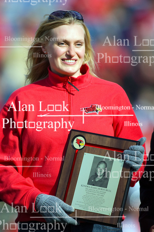 17 October 2009: Kendra Haselhorst-Bull is admitted to the Redbird Hall of Fame. The Indiana State Sycamores tumble to the Illinois State Redbirds 38-21 at Hancock Stadium on campus of Illinois State University in Normal Illinois