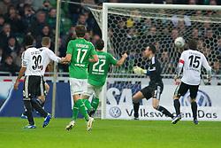 10.12.2011, Weser Stadion, Bremen, GER, 1.FBL, Werder Bremen vs VFL Wolfsburg, im Bild1 zu 0 Sokratis (Bremen #22) ( 1, Tor für Bremen von ihm ) gegen Hasan Salihamidzic (Wolfsburg #11) Diego Benaglio (Wolfsburg #1) . // during the Match GER, 1.FBL, Werder Bremen vs VFL Wolfsburg, Weser Stadion, Bremen, Germany, on 2011/12/10.EXPA Pictures © 2011, PhotoCredit: EXPA/ nph/ Kokenge..***** ATTENTION - OUT OF GER, CRO *****
