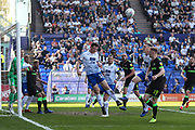 Tranmere Rovers Connor Jennings(11) heads the ball clear during the EFL Sky Bet League 2 match between Tranmere Rovers and Forest Green Rovers at Prenton Park, Birkenhead, England on 19 April 2019.