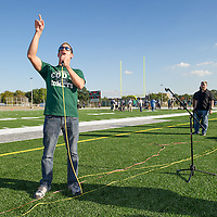 Life Remodeled CEO Chris Lambert speaks at halftime of first game on new Cody High School football field and thanks The Main Sponsor.