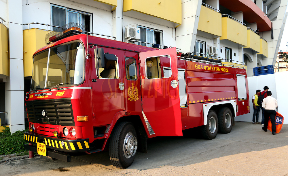 Fire Brigade truck during match 39 of the Indian Super League (ISL) season 2  between FC Goa and Mumbai City FC held at the Jawaharlal Nehru Stadium, Fatorda, Goa, India on the 17th November 2015.<br /> <br /> Photo by Sandeep Shetty / ISL/ SPORTZPICS