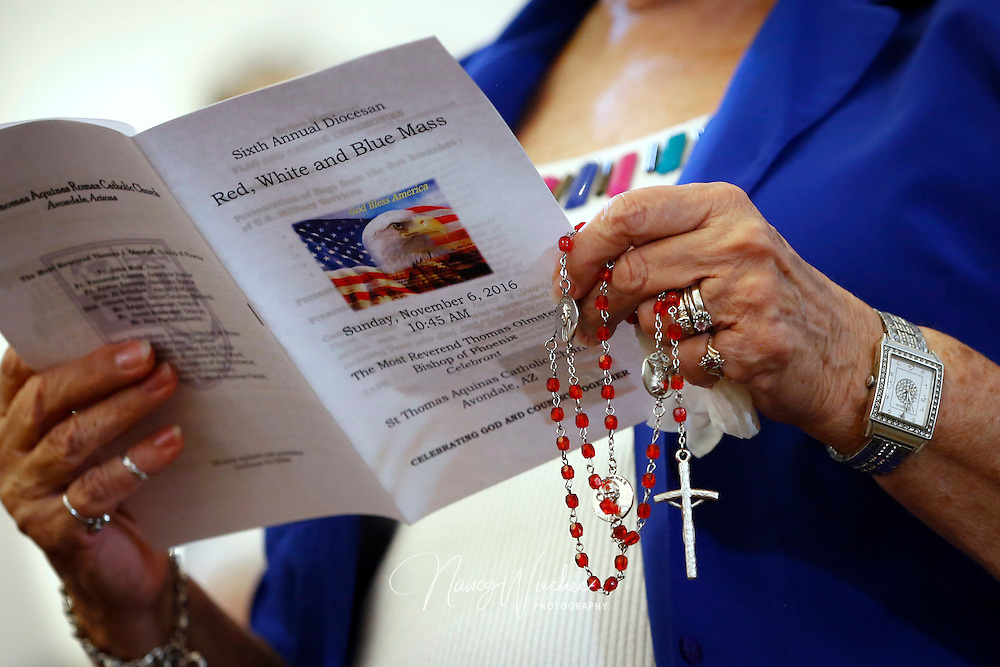 The Diocese of Phoenix marks its sixth annual Red, White and Blue Mass at St. Thomas Aquinas Church in Avondale, Ariz., Nov. 6. The occasion honored active and retired service men and women and recalled those who died in service to the country. (CNS photo/Nancy Wiechec)(CNS photo/Nancy Wiechec)