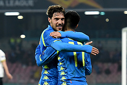 February 21, 2019 - Naples, Naples, Italy - Simone Verdi of SSC Napoli and Adam Ounas of SSC Napoli during the UEFA Europa League Round of 32 Second Leg match between SSC Napoli and FC Zurich at Stadio San Paolo Naples Italy on 21 February 2019. (Credit Image: © Franco Romano/NurPhoto via ZUMA Press)