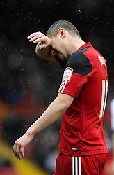Bristol City's Steven Davies cuts a dejected figure - Photo mandatory by-line: Joe Meredith/JMP - Tel: Mobile: 07966 386802 13/04/2013 - SPORT - FOOTBALL - Ashton Gate - Bristol - Bristol City V Bolton Wanderers - Npower Championship