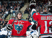 KELOWNA, CANADA - NOVEMBER 24:  Austin Glover #20 of the Kelowna Rockets celebrates a goal against the   Saskatoon Blades at the Kelowna Rockets on November 24, 2012 at Prospera Place in Kelowna, British Columbia, Canada (Photo by Marissa Baecker/Shoot the Breeze) *** Local Caption ***