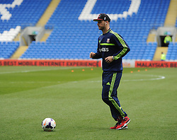 Stoke City's Marko Arnautovic has a kick about on the field in his tracksuit prior to kick off. - Photo mandatory by-line: Alex James/JMP - Mobile: 07966 386802 19/04/2014 - SPORT - FOOTBALL - Cardiff - Cardiff City Stadium - Cardiff City v Stoke City - Barclays Premier League