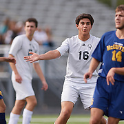 SEWICKLEY, PA - OCTOBER 21:  During the first round of the Western Pennsylvania Interscholastic Athletic League Class 2-A Boys Soccer Championships between Quaker Valley and McGuffy at Chuck Knox Stadium on October 21, 2017 in Leetsdale, PA.  The Quakers went on to win 7-0. (Photo by Shelley Lipton)
