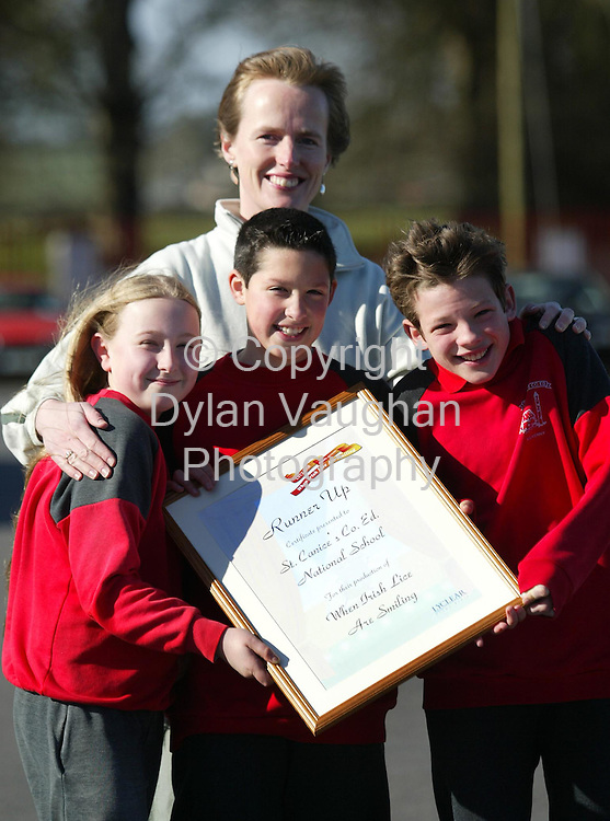 15/3/2002.St. Canices Co. Ed Primary School runners up in the Lyclear Oscars drama competition pictured from left Rachael Hanaphy aged 11, Mary O Brein teacher,  Eoin King aged 11 and David Ormond aged 12.Picture Dylan Vaughan