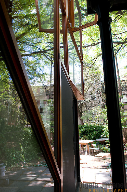 Date: 5/8/11.Desk: REA.Slug: 15COVER5.Assign Id: 10111168E..The home of Jed Marcus and Jessica Greenbaum, a four-story 1874 brownstone with a 2009 back addition by design architect Christopher McVoy located in Fort Greene, Brooklyn, is photographed on May 8, 2011. They live there with their daughters Becki, 13, and Bella, 16, who is away at boarding school. ..This is detail view of the back of the house looking out to the garden area. ..Photo by Angela Jimenez for The New York Times .photographer contact 917-586-0916