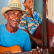 CUBA (Trinidad). 2009. Musicians in the Culture's House of Trinidad. Cultural activities are frecuently sponsored by goverment.