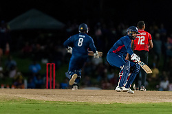 September 22, 2018 - Morrisville, North Carolina, US - Sept. 22, 2018 - Morrisville N.C., USA - Team USA JASKARAN MALHA (4) and STEVEN TAYLOR (8) score in the Super Over during the ICC World T20 America's ''A'' Qualifier cricket match between USA and Canada. Both teams played to a 140/8 tie with Canada winning the Super Over for the overall win. In addition to USA and Canada, the ICC World T20 America's ''A'' Qualifier also features Belize and Panama in the six-day tournament that ends Sept. 26. (Credit Image: © Timothy L. Hale/ZUMA Wire)