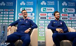 Miha Mlakar and Blaz Kavcic during press conference of Slovenian Tennis Men Team before Davis Cup against Pakistan, on February 27, 2020 in Kristalna palaca, Ljubljana, Slovenia. Photo by Vid Ponikvar / Sportida