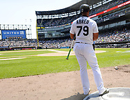 CHICAGO - JUNE 16:  Jose Abreu #79 of the Chicago White Sox looks on against the Detroit Tigers on June 16, 2018 at Guaranteed Rate Field in Chicago, Illinois.  (Photo by Ron Vesely)  Subject: Jose Abreu