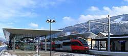 15.01.2013, Schladming, AUT, FIS Weltmeisterschaften Ski Alpin, Schladming 2013, Vorberichte, im Bild der Bahnhof Schladming am 15.01.2013 // the railway station of Schladming on 2013/01/15, preview to the FIS Alpine World Ski Championships 2013 at Schladming, Austria on 2013/01/15. EXPA Pictures © 2013, PhotoCredit: EXPA/ Martin Huber