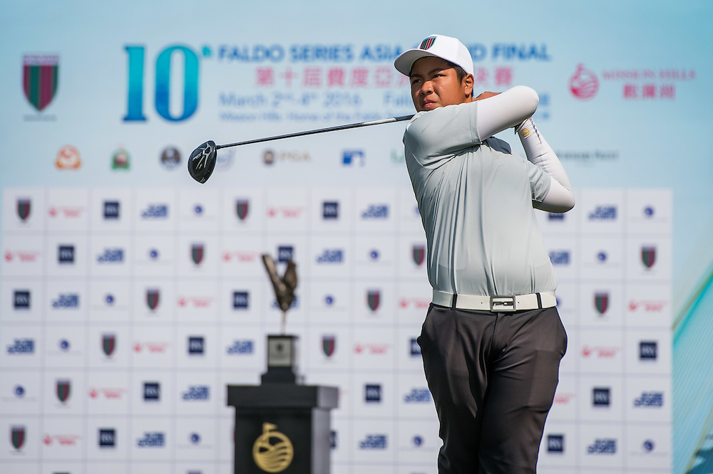 Thongpipat Rattanyanon of Thailand in action during day one of the 10th Faldo Series Asia Grand Final at Faldo course in Shenzhen, China. Photo by Xaume Olleros.