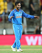 India's Kedar Jadhav celebrates his wicket of Black Caps Captain Kane Williamson during the Fifth ODI of the 2019 ANZ International ODI Series. Blackcaps v India at Westpac Stadium, Wellington, Sunday 3rd February 2019. © Copyright Photo: Grant Down / www.photosport.nz