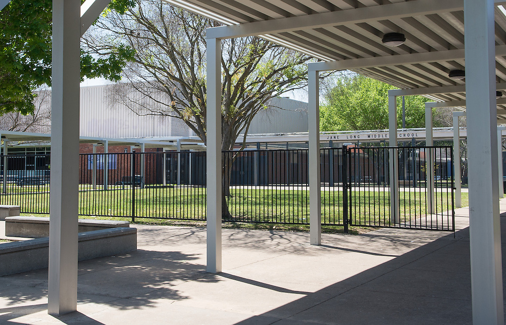 Jane Long Middle School photographed April 5, 2013. The school was a recipient of funds from the 2007 Bond.