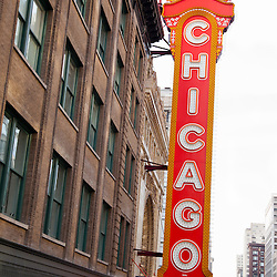 Chicago sign on the Chicago Theater in the Chicago Loop. The Chicago Theatre is a landmark listed with the National Register of Historic Places.