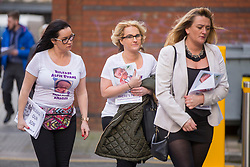 """© Licensed to London News Pictures. 01/02/2018. Liverpool UK. Supporters of Alfie Evans arrive at Liverpool Civil & Family Court this morning. Tom Evans and Kate James from Liverpool are in dispute with medics looking after their son 19-month-old son Alfie Evans, at Alder Hey Children's Hospital in Liverpool. Alfie is in a """"semi-vegetative state"""" and had a degenerative neurological condition doctors have not definitively diagnosed. Specialists at Alder Hey say continuing life-support treatment is not in Alfie's best interests but the boy's parents want permission to fly their son to a hospital in Rome for possible diagnosis and treatment.Photo credit: London News Pictures"""