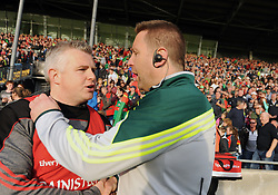 Mayo Manager Stephen Rochford and Kildare Manager Cian O&rsquo;Neill shake hands at the final whistle.<br />