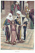 Mary and Joseph finding the young Jesus in the Temple where he had been sitting with the Doctors. St Luke:2.  Illustration by J.J.Tissot for his 'Life of Our Saviour Jesus Christ', 1897. Oleograph.