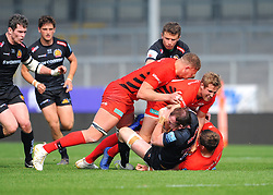 Matt Gallagher of Saracens Storm tackles Max Bodilly of Exeter Braves- Mandatory by-line: Nizaam Jones/JMP - 22/04/2019 - RUGBY - Sandy Park Stadium - Exeter, England - Exeter Braves v Saracens Storm - Premiership Rugby Shield