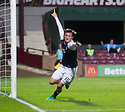 Scotland's Liam Henderson celebrates after netting late on, only for the goal to be disallowed during Scotland Under-21 v FYR Macedonia,  UEFA Under 21 championship qualifier  at Tynecastle, Edinburgh. Photo: David Young<br /> <br />  - © David Young - www.davidyoungphoto.co.uk - email: davidyoungphoto@gmail.com
