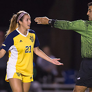 November 2, 2016; UC Irvine forward Hayley Mayne (20) questions the ref at<br /> Fullerton College vs UC Irvine Womens Soccer Semi Final at Big West Conference at LBSU ; Long Beach, CA;  <br /> © photo by Catharyn Hayne/Sport Shooter Academy