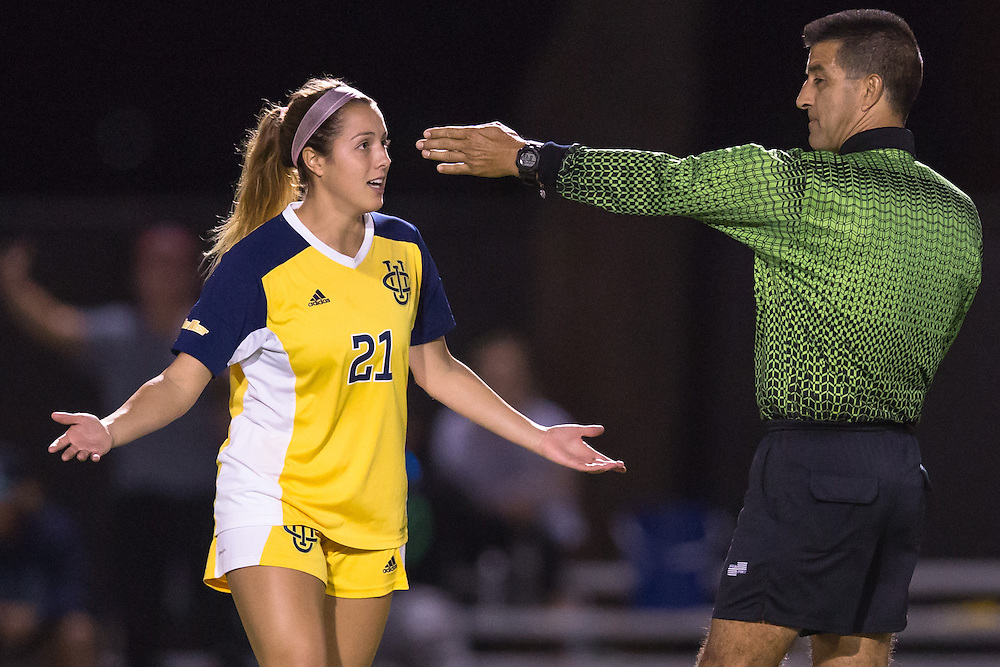 November 2, 2016; UC Irvine forward Hayley Mayne (20) questions the ref at<br /> Fullerton College vs UC Irvine Womens Soccer Semi Final at Big West Conference at LBSU ; Long Beach, CA;  <br /> &copy; photo by Catharyn Hayne/Sport Shooter Academy
