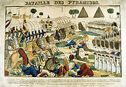 Battle of the Pyramids also called Battle of Embabeh, 21 July 1798.  French army in Egypt under Napoleon victorious against the Mamluks.  Popular French hand-coloured woodcut.