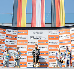11.06.2017, Red Bull Ring, Spielberg, AUT, ADAC GT Masters, Spielberg, 2. Rennen, im Bild v.l.: 2. Platz Lucas Auer (AUT)/Sebastian Asch (GER) BWT Muecke Motorsport, 1. Platz Rolf Ineichen (SUI) GRT Grasser Racing Team, 3. Platz Daniel Keilwitz (GER)/ Jules Gounon (FRA) Callaway Competition // f.l.: 2nd placed Austrian ADAC GT Masters driver Lucas Auer/German ADAC GT Masters driver Sebastian Asch of BWT Muecke Motorsport Winner Swiss ADAC GT Masters driver Rolf Ineichen of GRT Grasser Racing Team German ADAC GT Masters driver Daniel Keilwitz/French ADAC GT Masters driver Jules Gounon of Callaway Competition during the 2nd race of the ADAC GT Masters at the Red Bull Ring in Spielberg, Austria on 2017/06/11. EXPA Pictures © 2017, PhotoCredit: EXPA/ Dominik Angerer