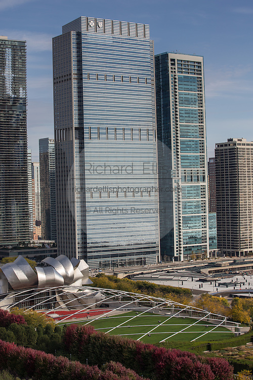Aerial view of the from the Cliff Dwellers Club of downtown skyline and Jay Pritzker Pavilion in Millennium Park Chicago USA