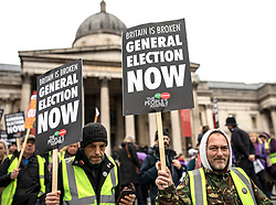 © Licensed to London News Pictures. 12/01/2019. London, UK. Thousands of people take part in a 'Yellow Vests' protest in central London to demand a general election. The protest, organised by The People's Assembly, is taking place days before MPs are set to vote on Prime Minister Theresa May's Brexit deal. Photo credit: Rob Pinney/LNP