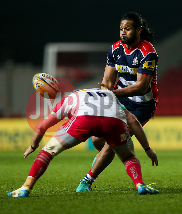 Thretton Palamo of Bristol Rugby is challenged by Joe Gray of Harlequins - Rogan Thomson/JMP - 10/02/2017 - RUGBY UNION - Ashton Gate Stadium - Bristol, England - Bristol Rugby v Harlequins - Aviva Premiership.