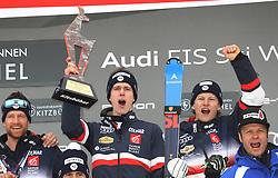 26.01.2020, Streif, Kitzbühel, AUT, FIS Weltcup Ski Alpin, Slalom, Herren, Siegerehrung, im Bild Clement Noel (FRA) mit der Goldenen Gams // during the winner ceremony for the men's Slalom of FIS Ski Alpine World Cup at the Streif in Kitzbühel, Austria on 2020/01/26. EXPA Pictures © 2020, PhotoCredit: EXPA/ SM<br /> <br /> *****ATTENTION - OUT of GER*****