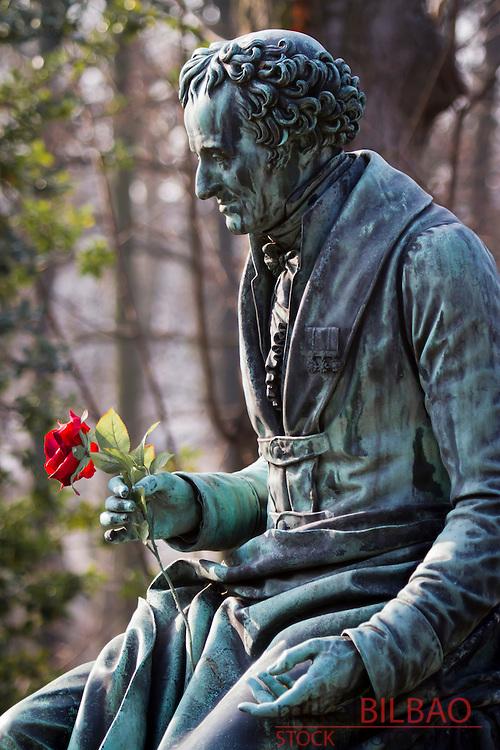 sculpture in Vivant Denon grave.  Pere Lachaise Cemetery.<br /> Paris, France, Europe.