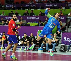 Uros Zorman #23 of Slovenia during handball match between National Teams of Slovenia and Spain at Day 9 of 24th Men's Handball World Championship Qatar 2015 on January 23, 2015 in Duhail Handball Sports Hall, Doha, Qatar. Photo by Slavko Kolar / Sportida