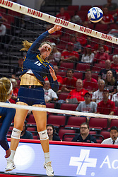 BLOOMINGTON, IL - September 15: Allie Barber during a college Women's volleyball match between the ISU Redbirds and the Marquette Golden Eagles on September 15 2019 at Illinois State University in Normal, IL. (Photo by Alan Look)
