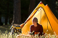 Sarah Meredith backpacking in Yosemite National Park, CA<br />