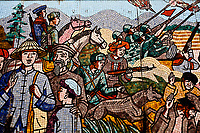 A detail of a large mural depicting the history of Vietnam, located in Lao Cai, Vietnam.