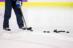 Pucks during practice session of Team Slovenia at the 2017 IIHF Men's World Championship, on May 11, 2017 in AccorHotels Arena in Paris, France. Photo by Vid Ponikvar / Sportida